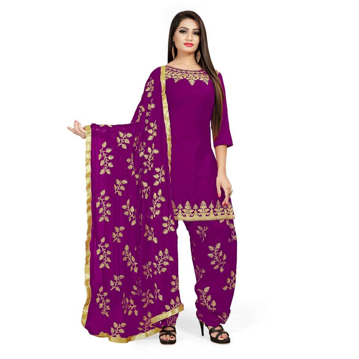 IRIS - Purple Colored Party Wear Embroidered Cotton Patiyala Style Dress Material