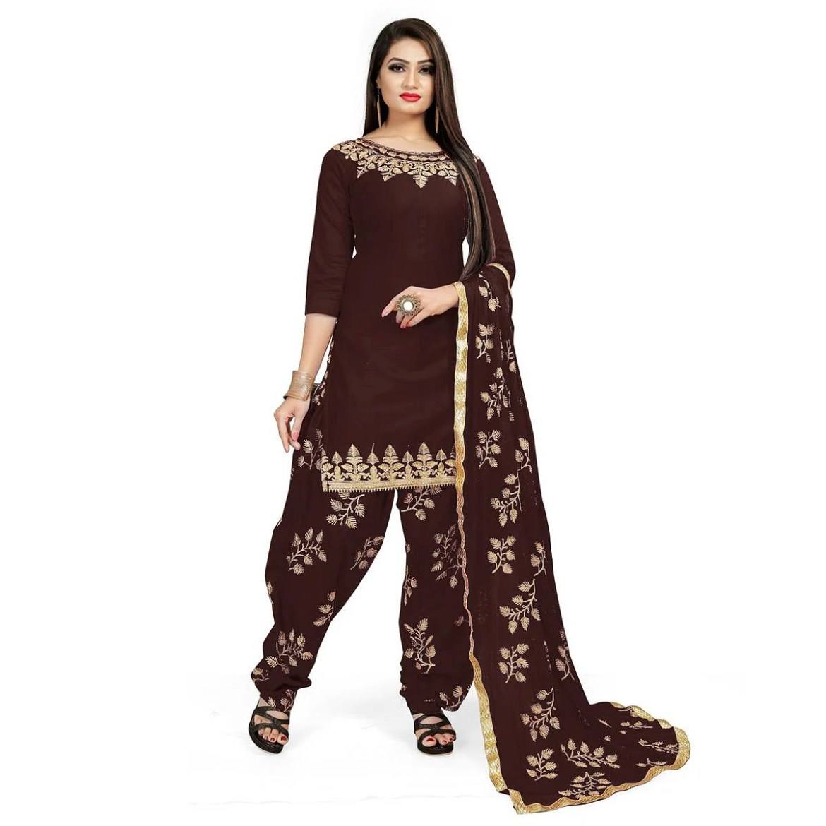 IRIS - Coffee Brown Colored Party Wear Embroidered Cotton Patiyala Style Dress Material