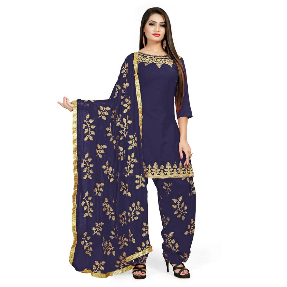 IRIS - Navy Blue Colored Party Wear Embroidered Cotton Patiyala Style Dress Material