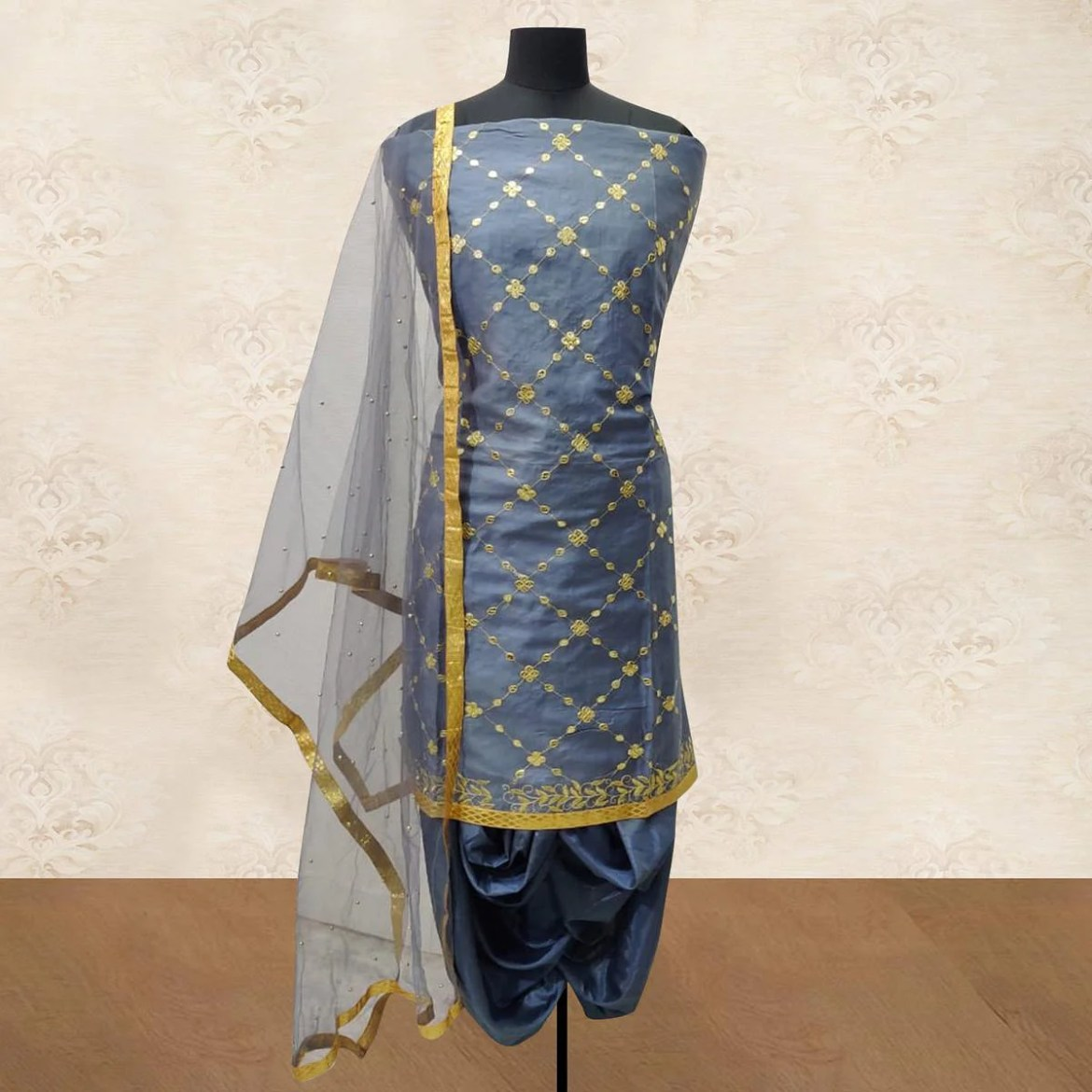 IRIS - Grey Colored Party Wear Gotapatti Embroidered Cotton Patiyala Style Dress Material
