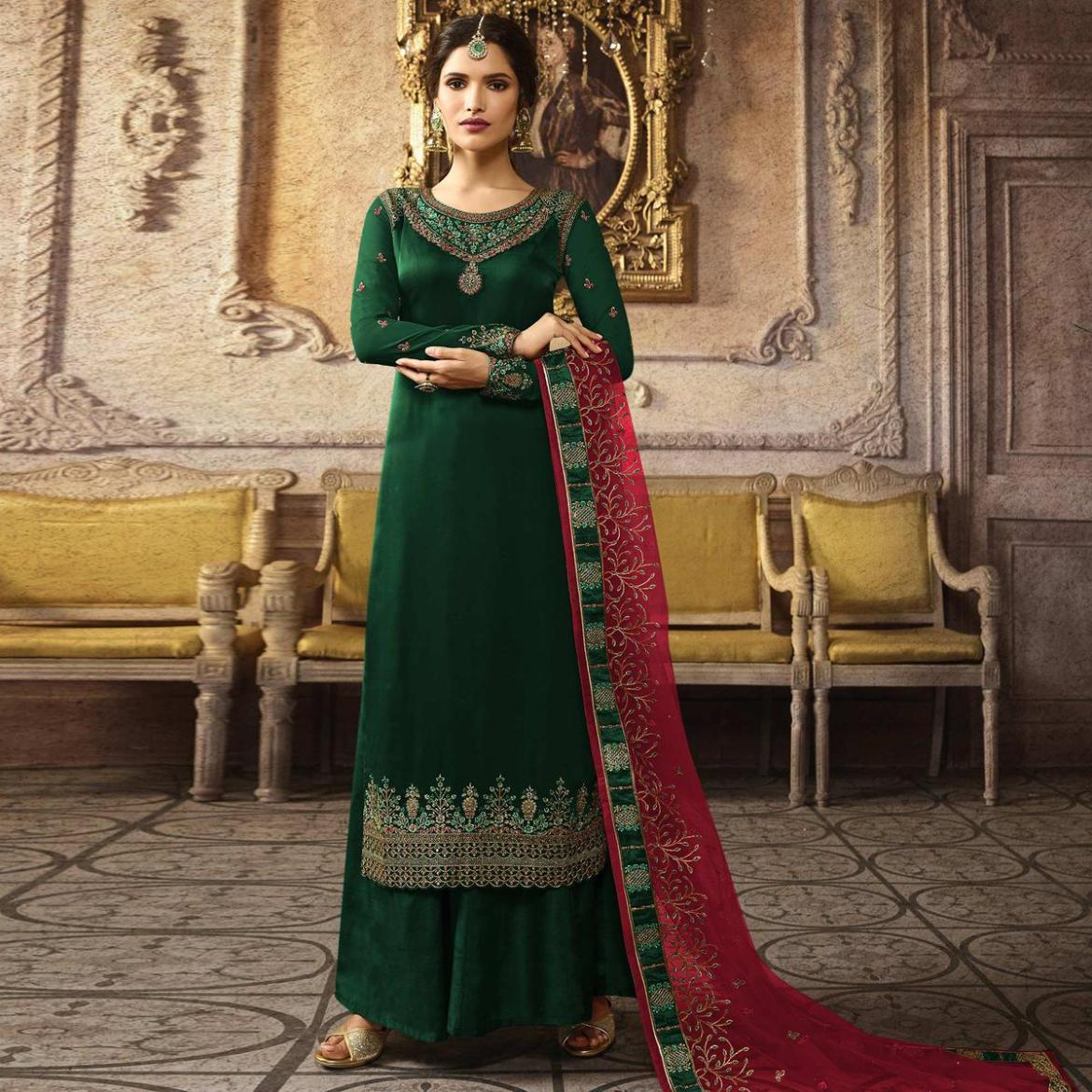 Intricate Green Colored Designer Partywear Embroidered Heavy Chinon Silk Palazzo Suit