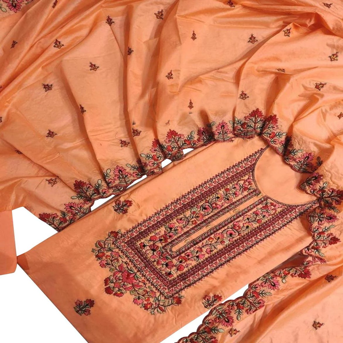 IRIS - Orange Colored Partywear Embroidered Modal Dress Material
