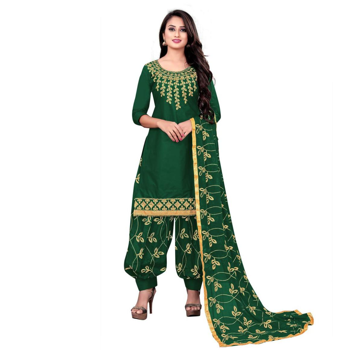 IRIS - Green Colored Party Wear Embroidered Cotton Dress Material