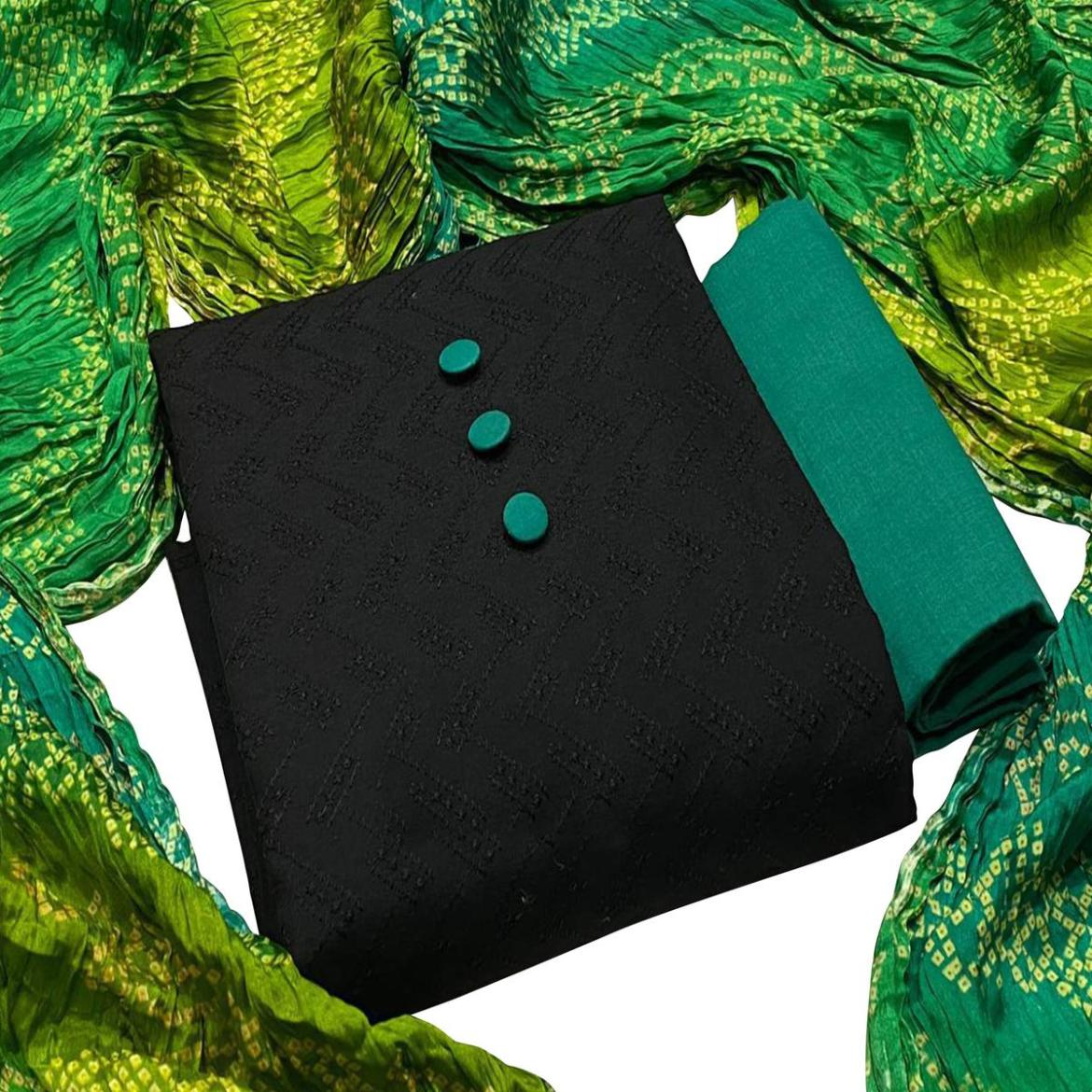 Adorable Black - Turquoise Green Colored Partywear Embroidered Cotton Dress Material