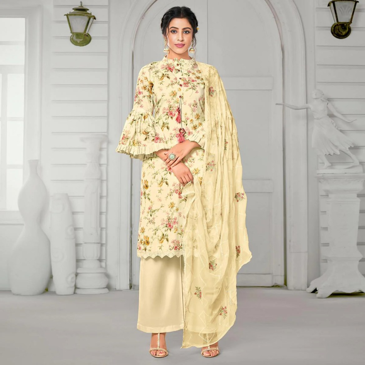 Adorable Beige Colored Casual Wear Digital Printed Pure Jam Cotton Dress Material