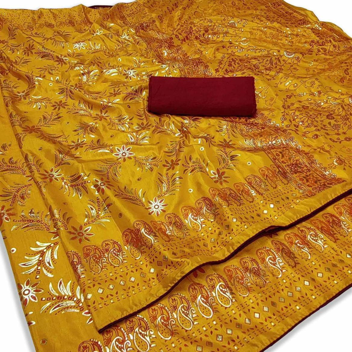Excellent Gold Colored Festive Wear Printed Dola Silk Saree