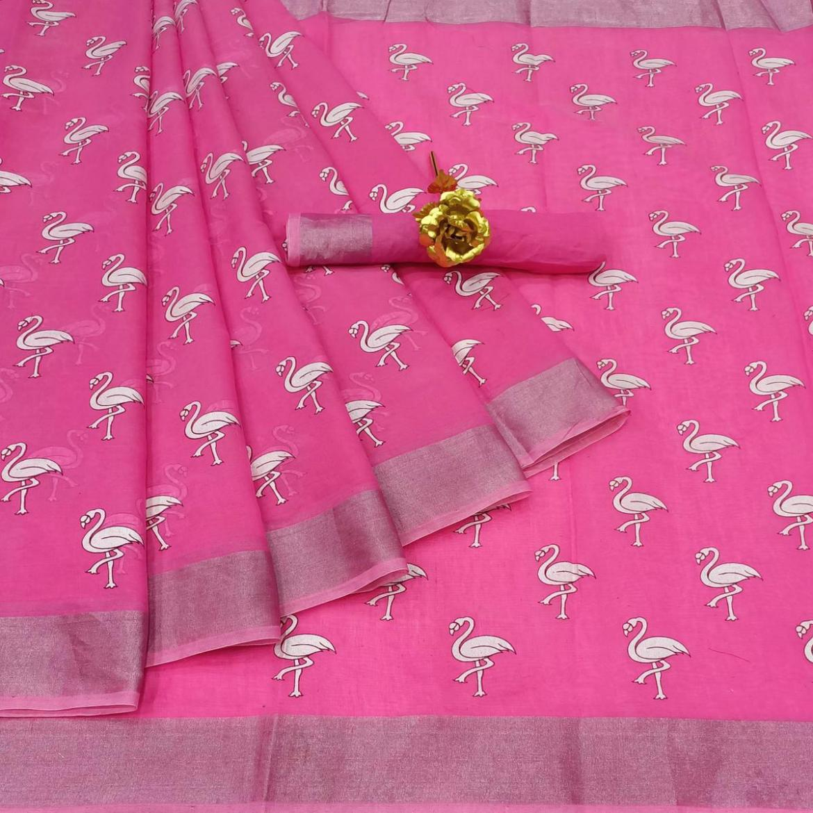 Exceptional Pink Colored Casual Wear Printed Cotton Linen Saree