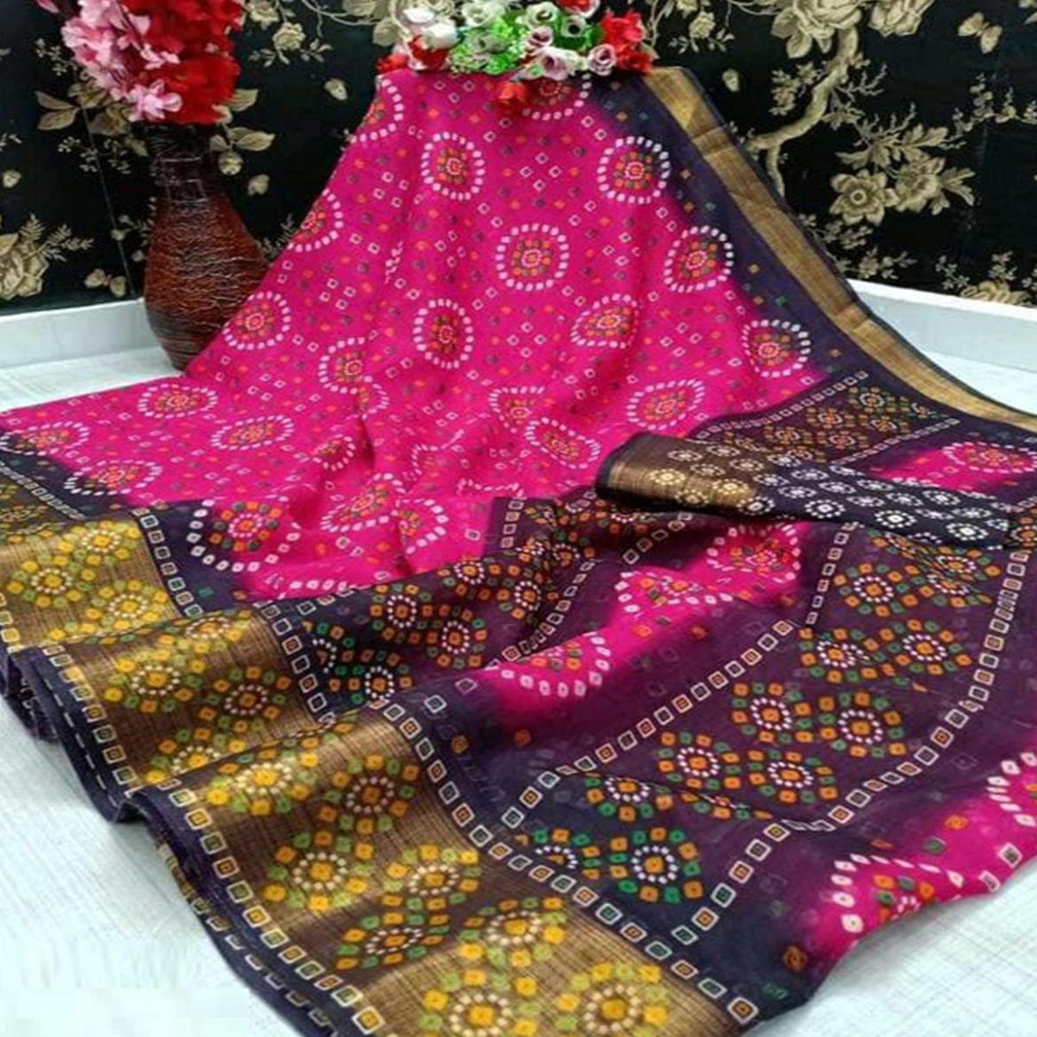 Exceptional Pink Colored Casual Wear Bandhani Digital Printed Pure Cotton Saree