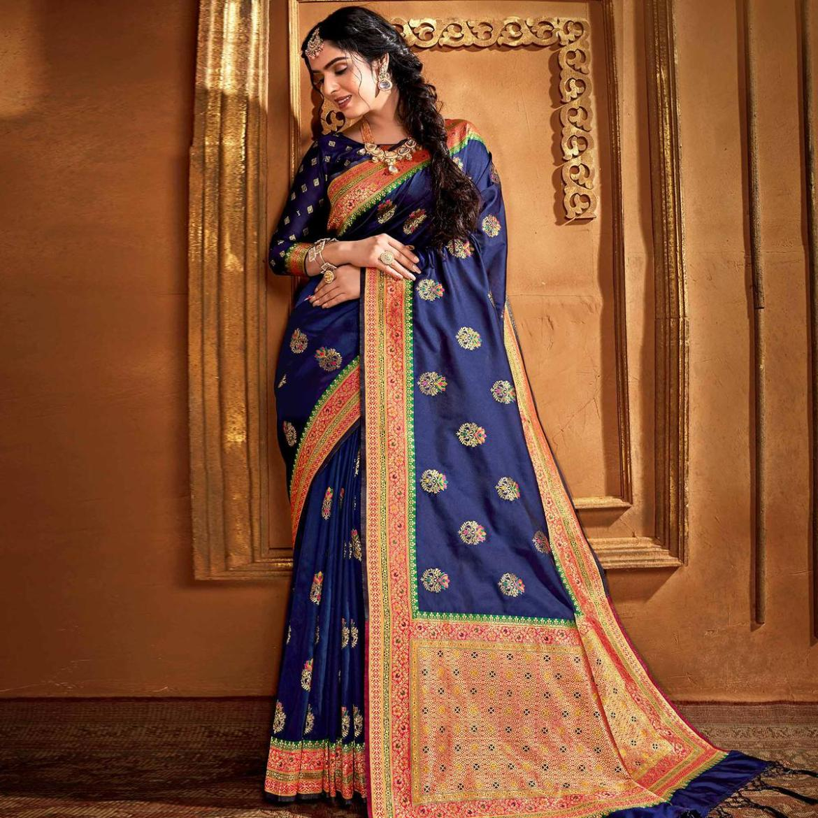 Exceptional Navy Blue Colored Festive Wear Woven Silk Saree