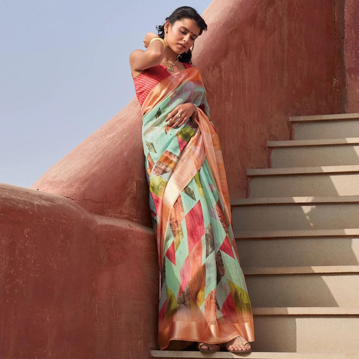 Engrossing Green Colored Casual Wear Printed Cotton Saree