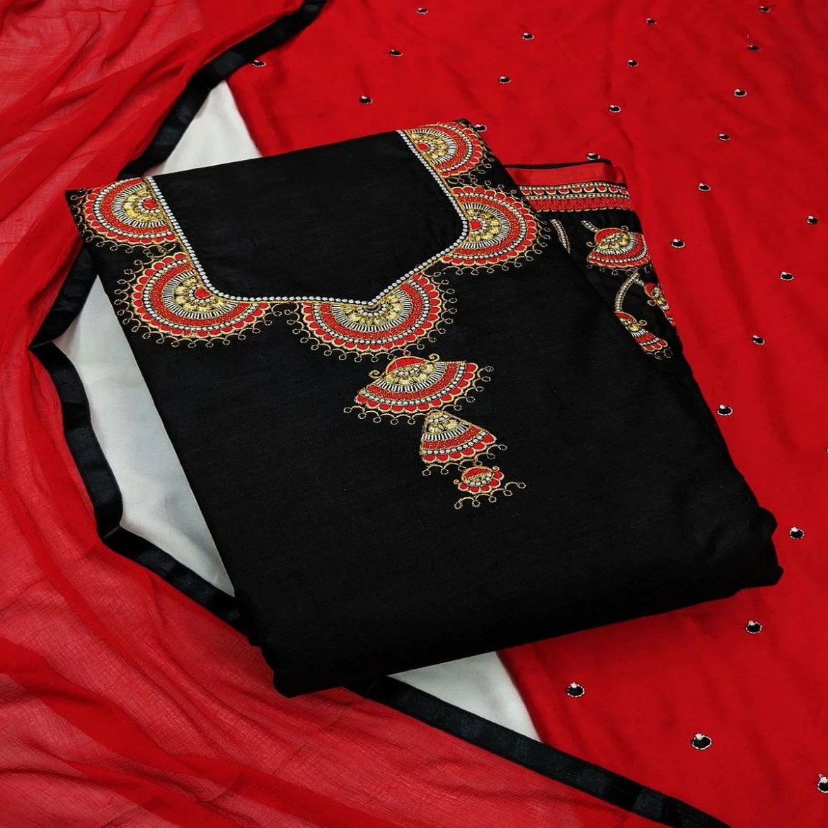 Iris - Black - Red Colored Partywear Embroidered Cambric Cotton Dress Material