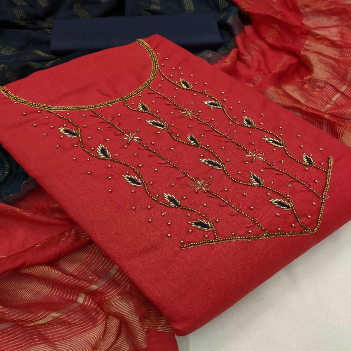 Iris - Pink Colored Partywear Embroidered Cotton Dress Material