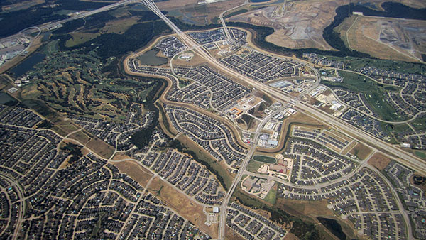 Aerial view of Carrollton, Texas