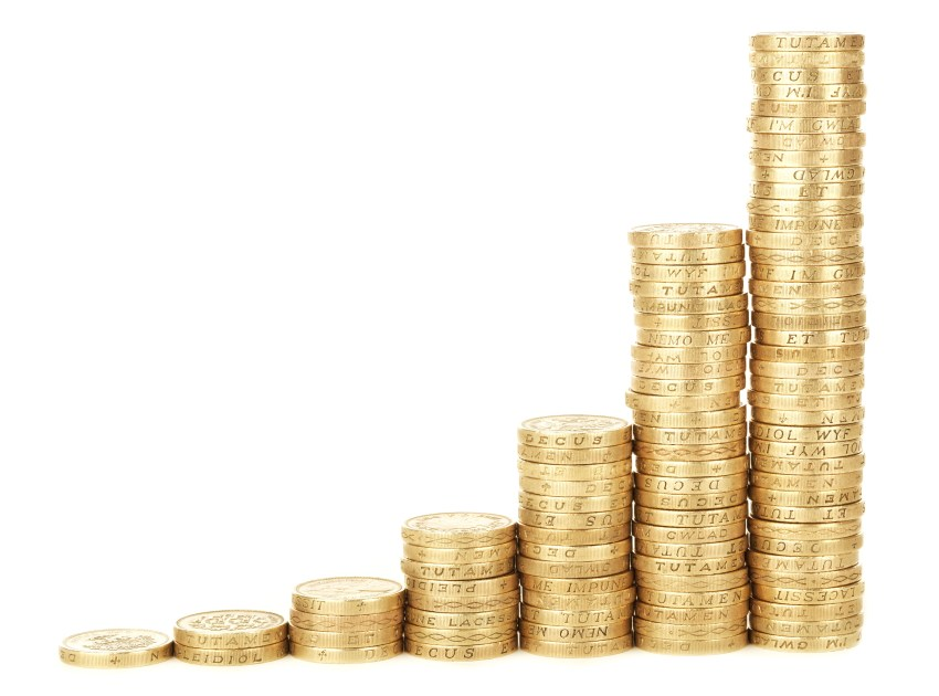 Stacks of coins of increasing height.