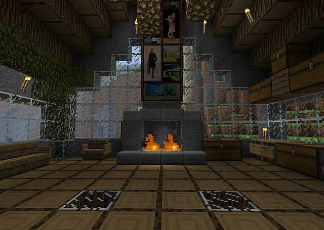 Big Cool Looking Cabin With A Fireplace Minecraft Project
