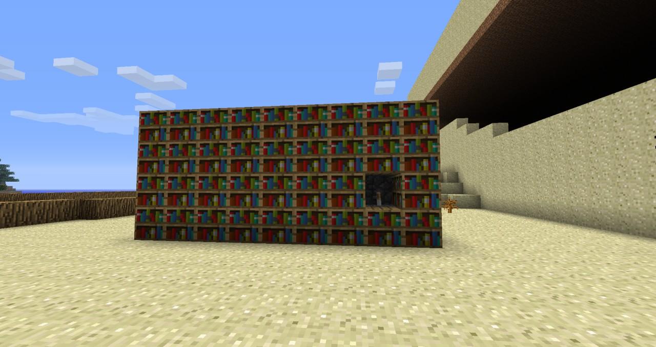 Bookshelf Hidden Piston Door Minecraft Project
