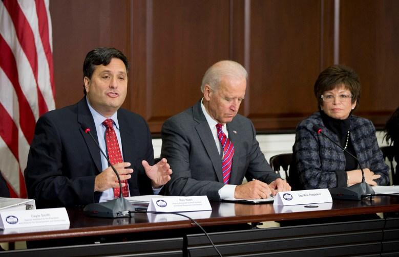 Ebola Response Coordinator Ron Klain (left), Vice President Joe Biden (center) and White House Senior Adviser Valerie Jarrett (right) at a meeting in November 2014 in the Eisenhower Executive Office Building.