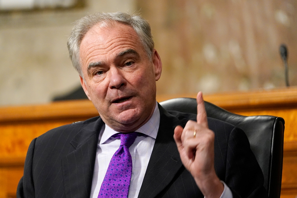 Sen. Tim Kaine speaks during a Senate Foreign Relations Committee hearing.