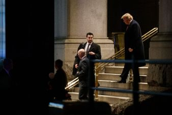 Trump exits the Trump International Hotel after attending the 2019 MAGA Leadership Summit on January 28, 2019 in Washington, DC. (Photo by Shawn Thew-Pool/Getty Images)