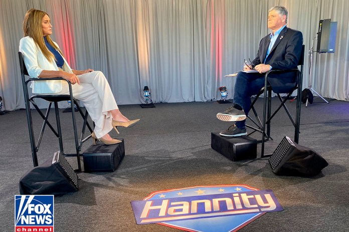 Caitlyn Jenner is interviewed by Fox News host Sean Hannity.