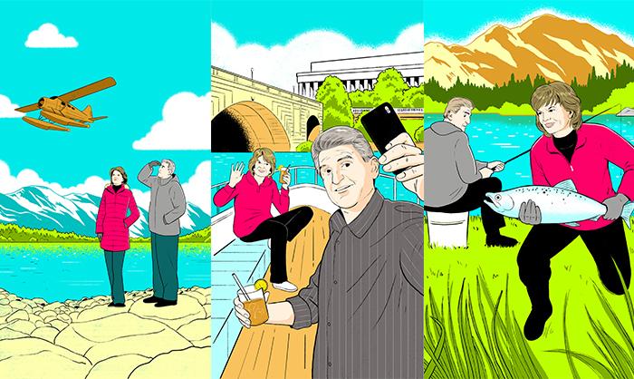 Illustrations of Sens. Lisa Murkowski (R-Alaska) and Joe Manchin (D-W.Va.) by Alex Fine