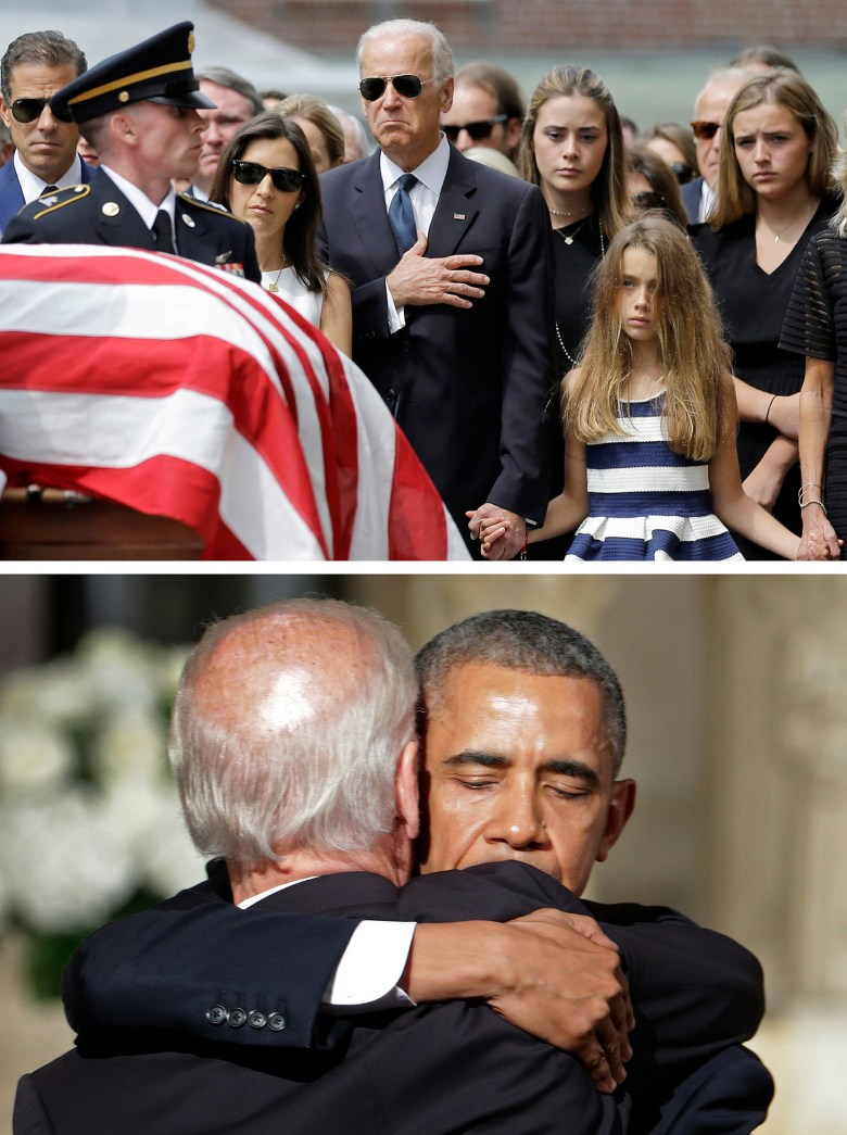 Top: On June 6, 2015, Vice President Joe Biden, accompanied by his family, attends the funeral of his son, former Delaware Attorney General Beau Biden who died at the age of 46 after a battle with brain cancer, at a Catholic Church in Wilmington, Del. (AP Photo/Patrick Semansky)  Bottom: President Barack Obama hugs Vice President Biden after delivering the eulogy. (AP Photo/Pablo Martinez Monsivais, Pool)