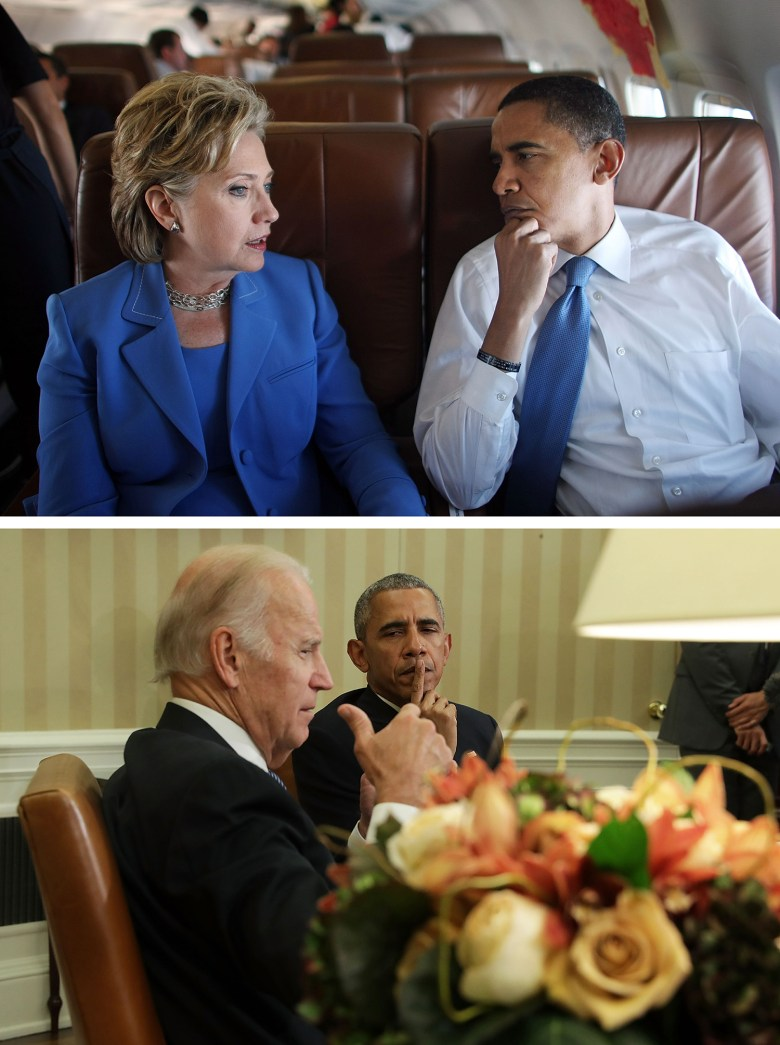 Top: Democratic presidential candidate Sen. Barack Obama and former primary candidate Sen. Hillary Rodham Clinton talk on board Obama's campaign plane June 27, 2008 en route to a joint campaign event in Manchester, N.H. (Photo by Mario Tama/Getty Images)  Bottom: Vice President Joe Biden speaks as President Obama listens during a meeting in the Oval Office in October 2016. (Photo by Alex Wong/Getty Images)