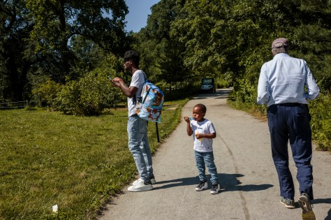 Mayor Bill de Blasio goes for a walk in Prospect Park on a Thursday afternoon.