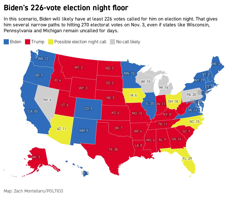 An election night scenario for Joe Biden.