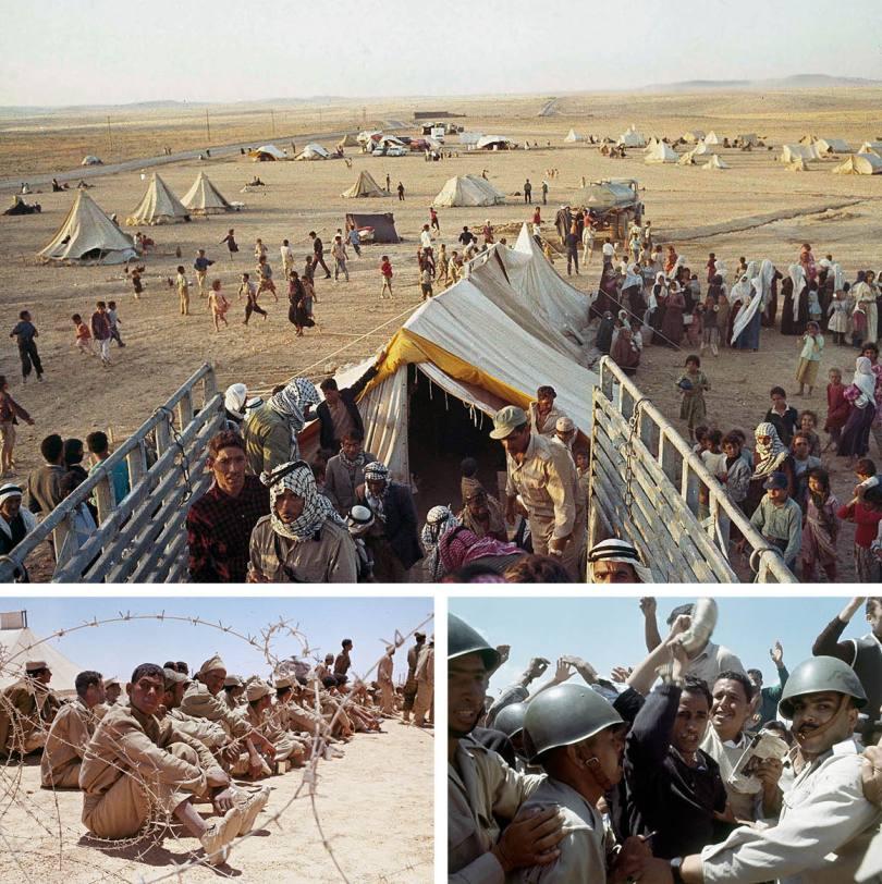 En haut : Enfants et adultes palestiniens sans foyer à la suite de la guerre au Moyen-Orient, juin 1967. En bas à gauche : Des prisonniers de guerre égyptiens sont montrés pendant la guerre israélo-arabe des Six jours en juin 1967. En bas à droite : les troupes régulières égyptiennes retiennent les Palestiniens des réfugiés saluant et criant lors d'une manifestation anti-américaine dans la bande de Gaza en Égypte en 1967.