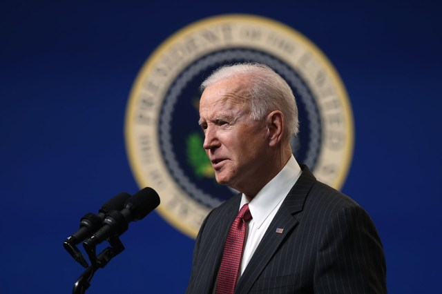 President Joe Biden speaks as he makes a statement at the South Court Auditorium at Eisenhower Executive Building.