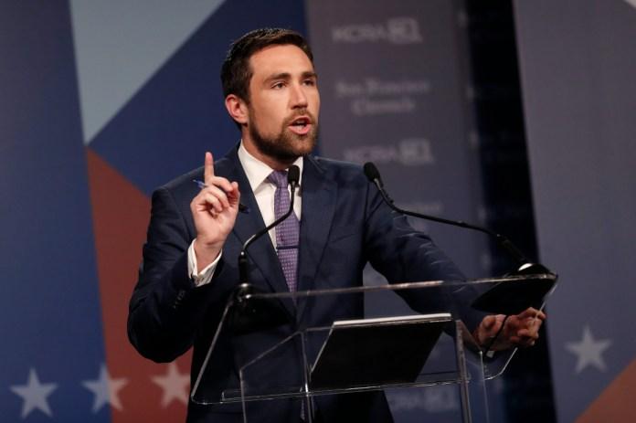 Democrat Kevin Paffrath speaks during a debate in Sacramento, Calif., on Wednesday, Aug. 25, 2021.