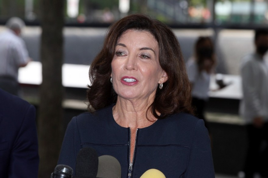 Governor Kathy Hochul speaks with the media after visiting the 9/11 Memorial in New York on Sept. 8.