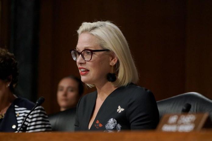 Sen. Kyrsten Sinema speaks at the at the hearing on Type 1 Diabetes at the Dirksen Senate Office Building on July 10, 2019 in Washington, D.C.