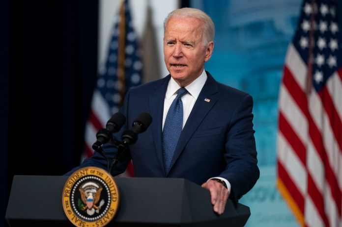 President Joe Biden speaks about the COVID-19 vaccination program during an event.