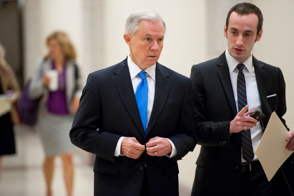 Senate Budget ranking member Jeff Sessions, R-Ala., arrives with his aide Stephen Miller for a news conference April 5, 2011.