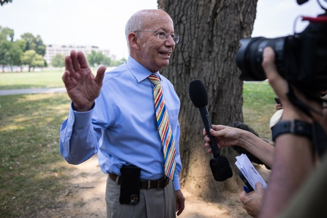 House Transportation Chairman Peter DeFazio (D-Ore.) at a rally for progressive infrastructure legislation on the National Mall June 20, 2021.