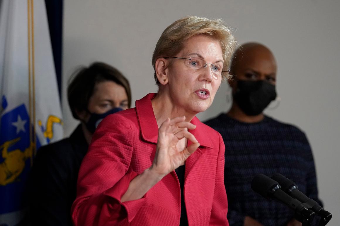 Sen. Elizabeth Warren (D-Mass.) responds to questions from reporters.