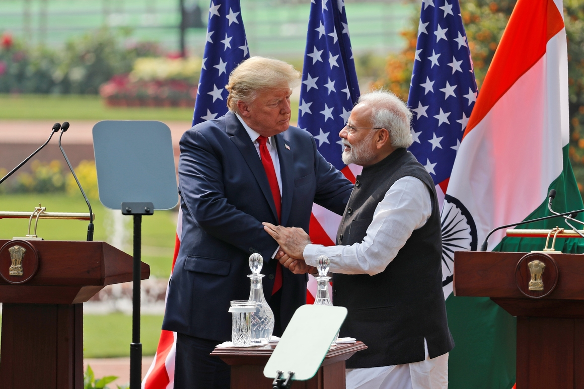 Donald Trump and Narenda Modi in New Delhi