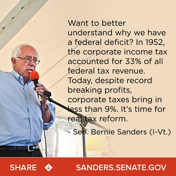 Bernie Sanders says tax share paid by corporations has ...