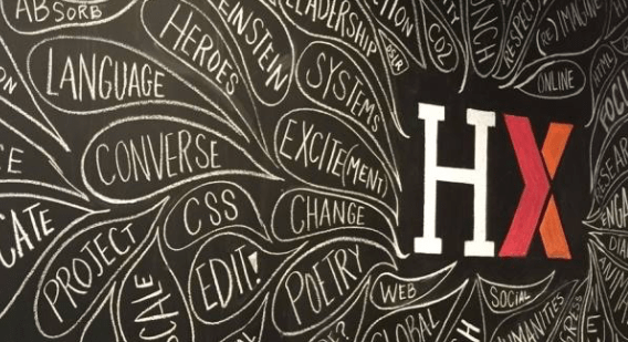HarvardX logo surrounded by words such as online, language, poetry