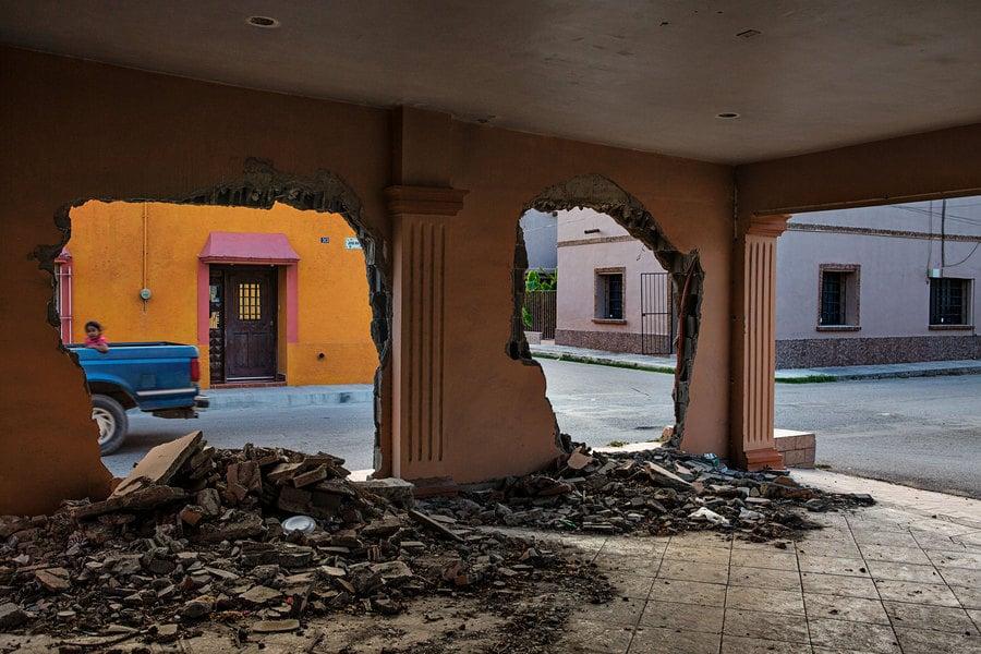 Una de las casas destrozadas durante la masacre de Allende