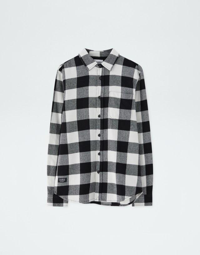 Camisa cuadros manga larga, BLANCO