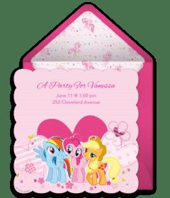 free my little pony online invitations
