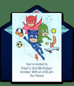 free pj masks online invitations