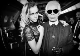Alice Dellal and Karl Lagerfeldbackstage at theChanelS/S 2012 Couture show,Paris.Photo Stephane Feugere…