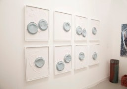 Lucien Smith pie paintings in Salon 94 booth at Frieze Art Fair…