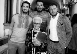 Rosita Missoni with grandchildren Ottavio Missoni, Marco Missoni and Giacomo Missoni at...