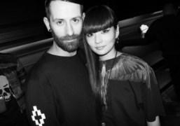 Marcelo Burlon with model Akimoto Kozue at his presentation cocktail party, Milan….