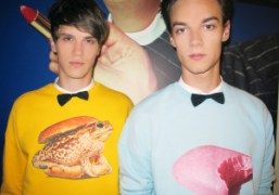 Two looks from the MSGM'sF/W 2013sweatshirts capsule collection in collaboration with ToiletPaperMagazine,…